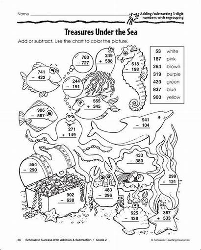 Subtraction Worksheets Coloring Math Regrouping Fun Pages