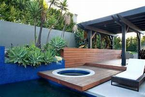 Teak, Lined, Spa, With, Pergola, Covered, Sitting, Area