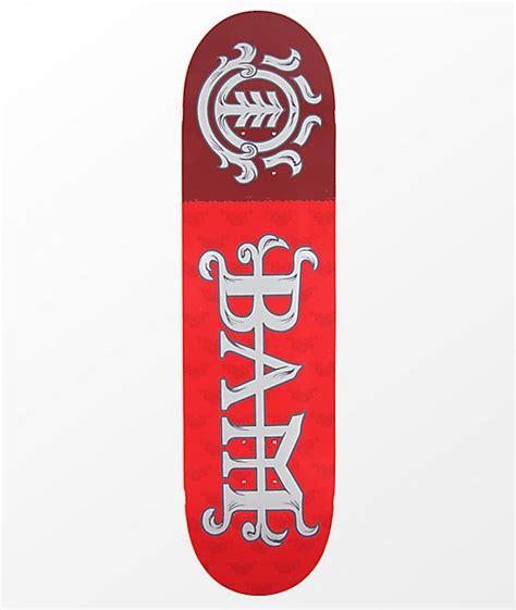 """Element Bam Margera 825"""" Red Skateboard Deck Zumiezca"""