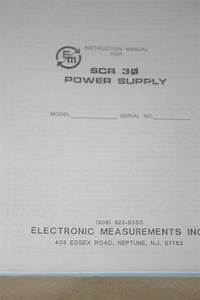 Electronic Measurements Scr 30 Power Supply Instruction
