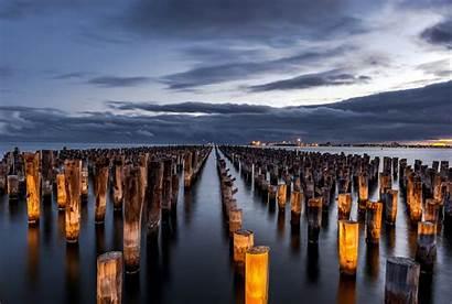 Melbourne Australia Wallpapers Victoria Miasto Morze Noc