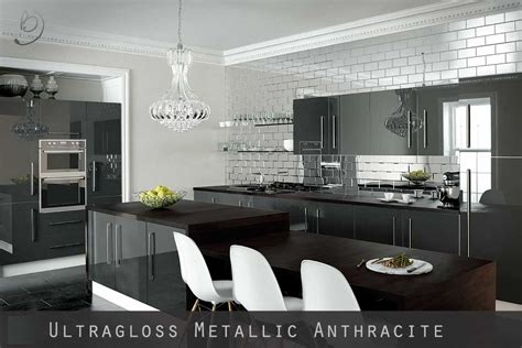 gloss grey kitchen cabinets ultra high gloss metallic anthracite kitchen doors 3846