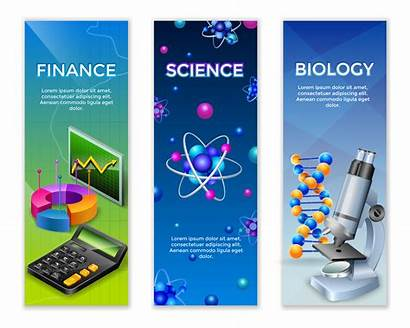 Science Banner Vertical Banners Vector Experiment Laboratory