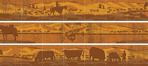 western kitchen backsplashes western tile mural wrap