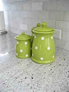 green kitchen canisters green polka dot canister set adds a pop of color to the kitchen quot popular pins