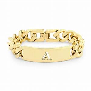 c wonder initial letter id bracelet in gold a lyst With letter bracelets gold