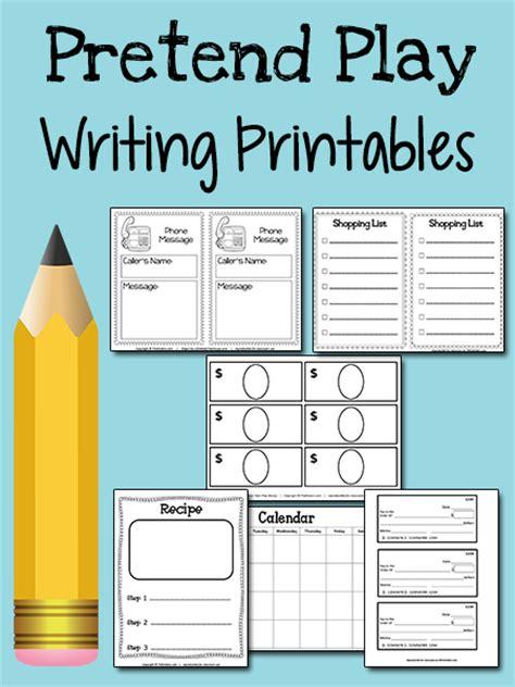pretend play writing printables prekinders