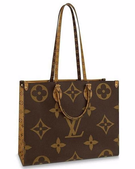 louis vuitton top handle tote onthego giant reverse logo lv monogram brown canvas shoulder bag