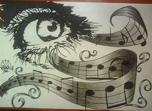 Music,pencil and black marker xD by ooZEROKoo