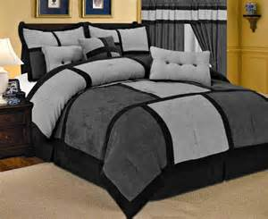 23 pc gray comforter curtain black sheet set micro suede king bed in a bag new