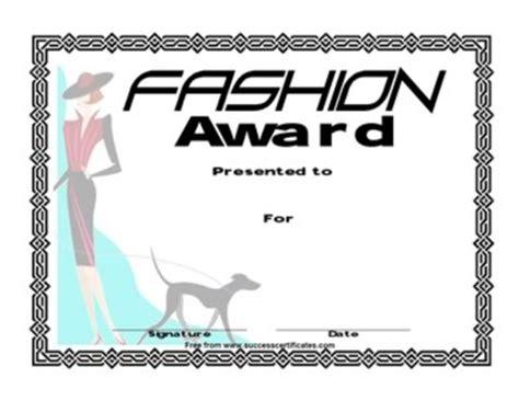 certificate  fashion competition fashion award