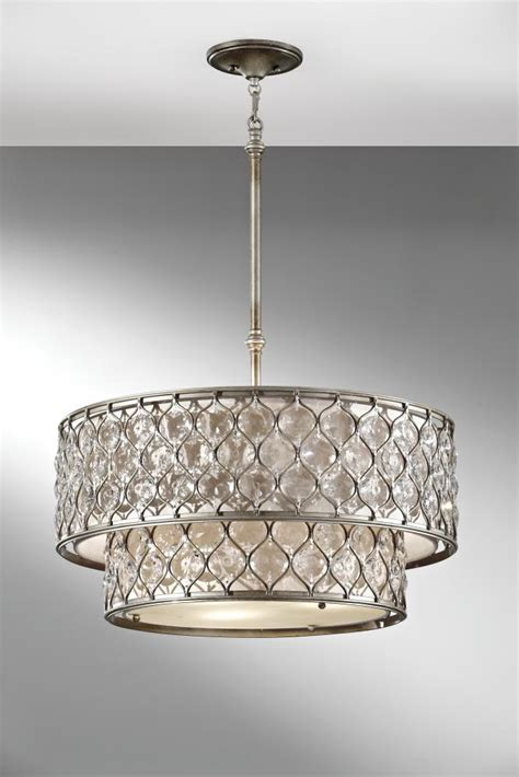 feiss six light linen fabric shade burnished silver drum