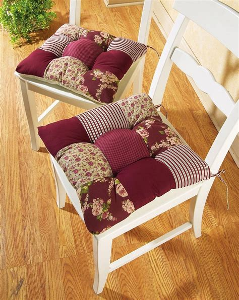 set of 2 country patchwork chair cushion