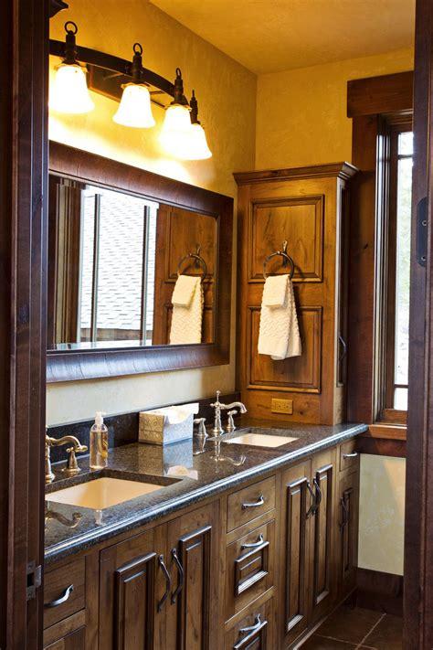 rustic bathroom love oversized mirror  double vanity