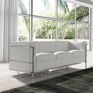 Canapé Blanc Design : canap 3 places cuir blanc inox moderne design corbs ~ Teatrodelosmanantiales.com Idées de Décoration