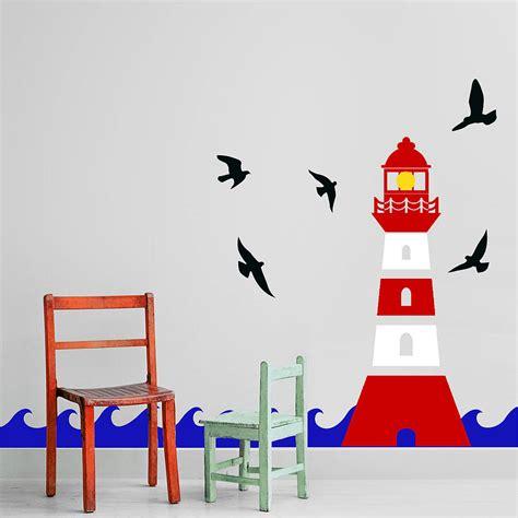 lighthouse wall sticker decal by snuggledust studios notonthehighstreet com