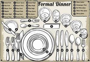 Vintage Hand Drawn Place Setting Formal Dinner Stock Vector