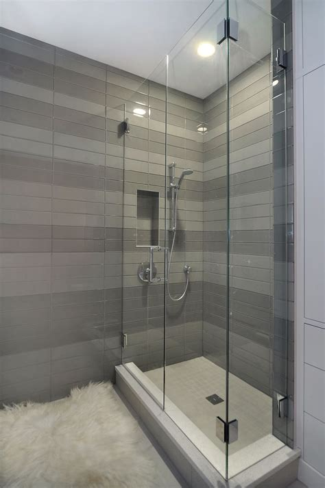 Bathroom Tile Shower Design by Contemporary Shower With Striped Tile Detail By Johnson