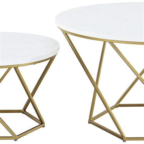 Giantex coffee accent tea table for modern living room bedroom steel metal pine frame tables w/faux marble top cocktail table (39.5x20x18, ivory white) 3.6 out of 5 stars 33 $109.99 $ 109. Geometric White Marble Top Coffee Tables Set of 2 - #64J67   Lamps Plus