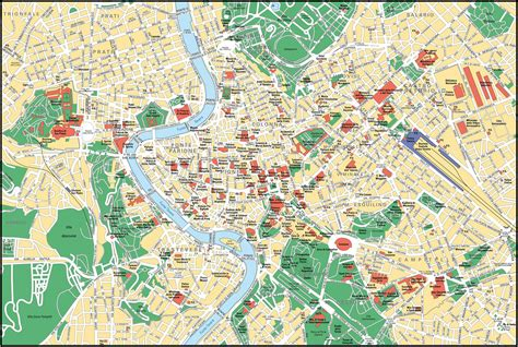 Large Detailed Street Map Of Rome City Center Rome City