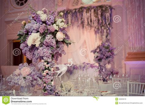 in decorations festive table decoration in lilac colours stock photo