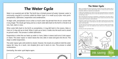 water cycle explanation writing sample australia