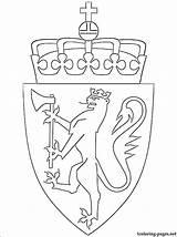 Norway Coloring Arms Coat Getdrawings Drawing sketch template
