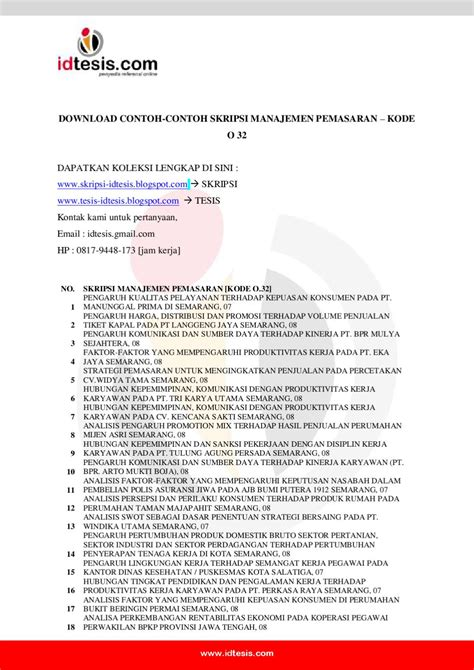 contoh skripsi manajemen pemasaran kode o 32 by sanjaya