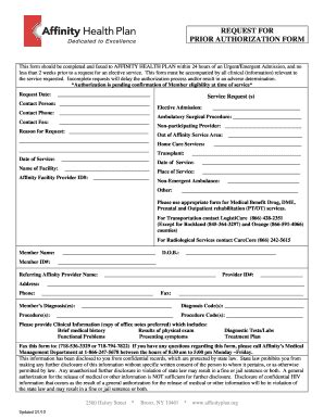 central health prior authorization form fillable online affinityplan routine precertification form
