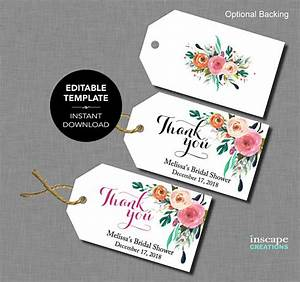 Editable bridal shower favor tags template floral rustic for Bridal shower favor tags template