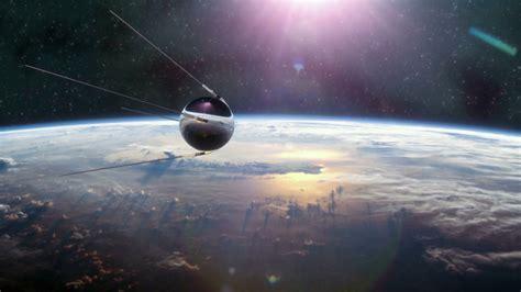 Sputnik First Satellite in Orbit Motion Background - Storyblocks