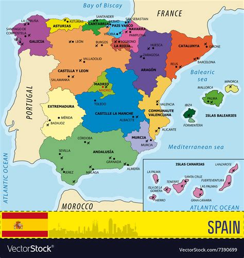 detailed map  spain   regions   ai