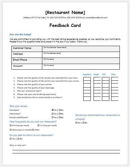 feedback template restaurant customer feedback forms ms word word excel templates