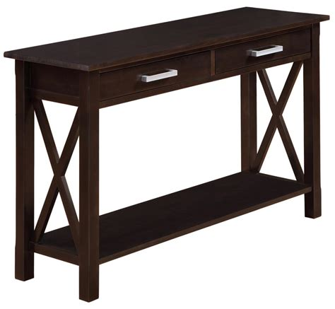 65 inch sofa table amazon com simpli home kitchener console table dark
