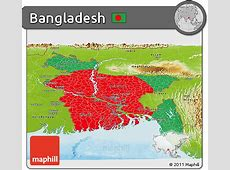 Free Flag Panoramic Map of Bangladesh, physical outside