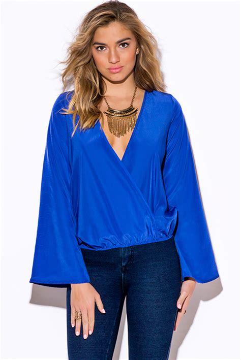 shop royal blue long sleeve wrap boho blouse party top