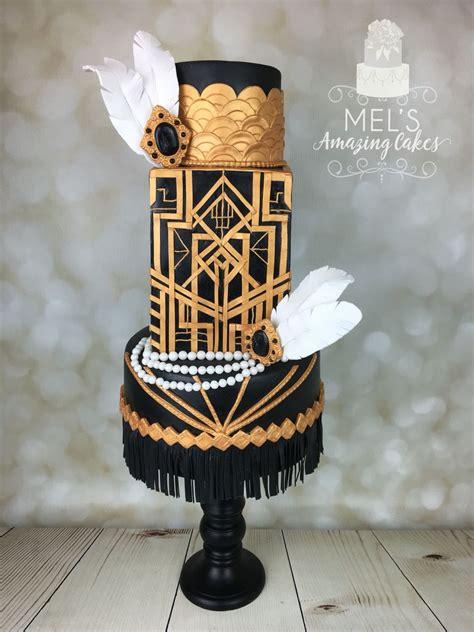 great gatsby gold  black wedding cake  sugar pearls