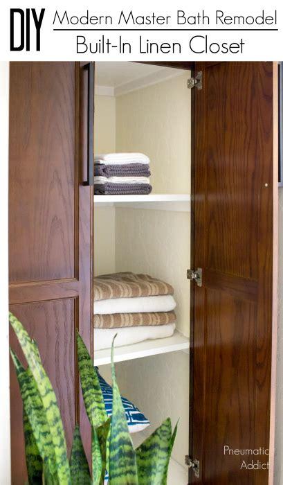 modern master bath remodel part  built  linen closet