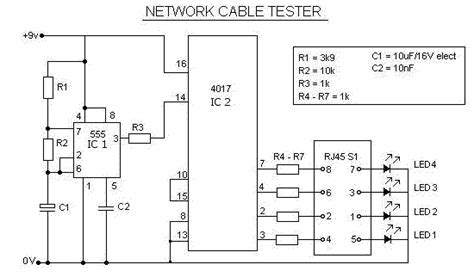 Network Cable Tester Circuit