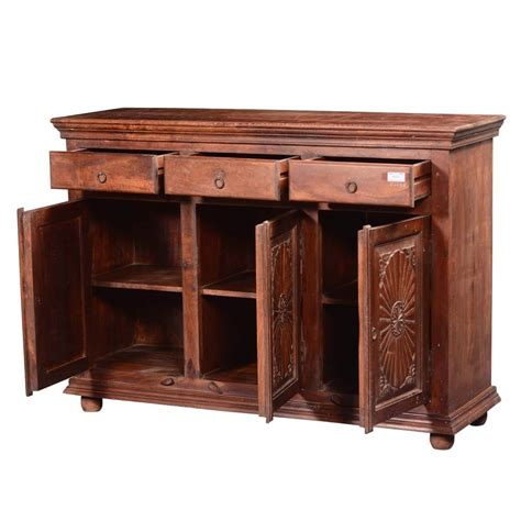 Wood Sideboard Cabinet by Traditional Sunburst Reclaimed Wood 3 Drawer Sideboard Cabinet