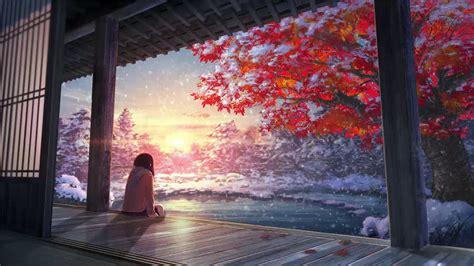 anime winter snow scenery animated wallpaper youtube