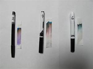 Chromatography with ink pens (black) and ink on a note ...