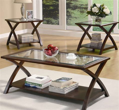 Rich Cappuccino Finish Modern 3pc Coffee Table Set Wglass Top