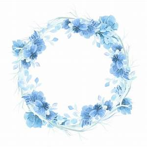 Blue Watercolor Floral Wreath Background Vector Free