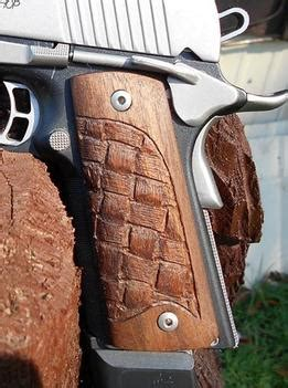 custom dremel carved basket weave wood handgun
