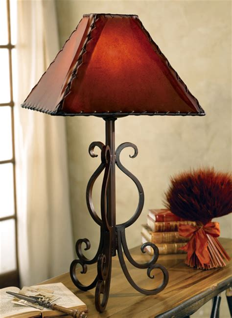 west iron lamp  rawhide shade
