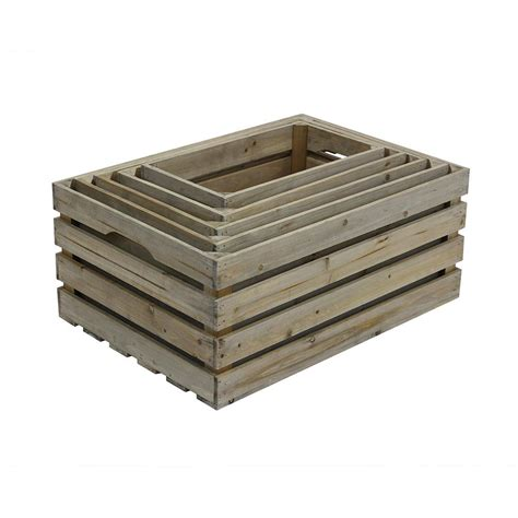 Crates & Pallet Nested Crate Set In Weathered Gray (5pack