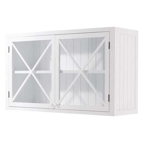 meuble haut cuisine bois meuble haut vitré de cuisine en bois blanc l 120 cm
