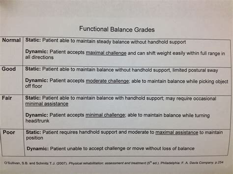 Functional Balance Grades Therapy Notes Occupational