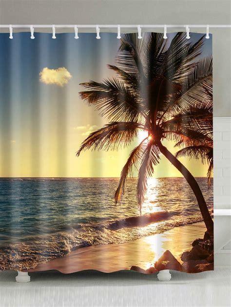 scenic drapes colormix w59 inch l71 inch sunset beach scenic shower curtain bathroom decor rosegal com